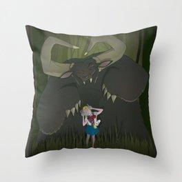 Monster girl in Horrorcolor Throw Pillow