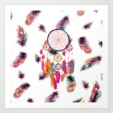 Hipster Watercolor Dreamcatcher Feathers Pattern  Art Print