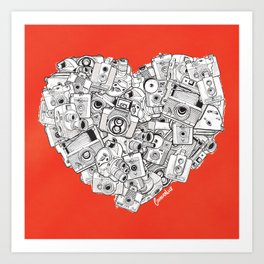 Camera Heart - on red Art Print