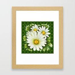 Daisies On Vintage Green Framed Art Print