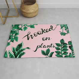 Hooked On Plants In Pink Rug