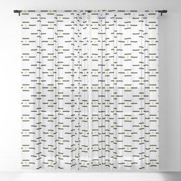 Black lines and golden dots pattern Sheer Curtain