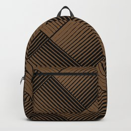 Brown and Black Square Mosaic Stripe Pattern - Sherwin Williams 2022 Color Uber Umber SW 9107 Backpack