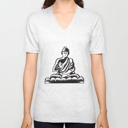 Buddha Lotus Pose Woodcut Unisex V-Neck