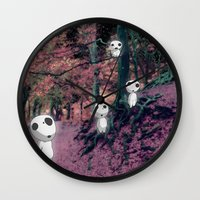 kodama Wall Clocks featuring Kodama in the woods by pkarnold + The Cult Print Shop