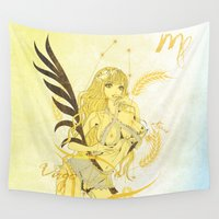 virgo Wall Tapestries featuring VIRGO / SPICA by Chandelina