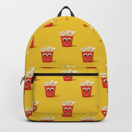 Happy popcorn smiling pattern on yellow Backpack