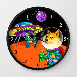 Shibe Doge Astro and the Aliens Memes Cats Cartoon Wall Clock