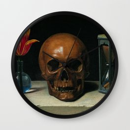 Life, Death, & Time; still life portrait painting with a Skull and Tulip by Philippe de Champaigne Wall Clock