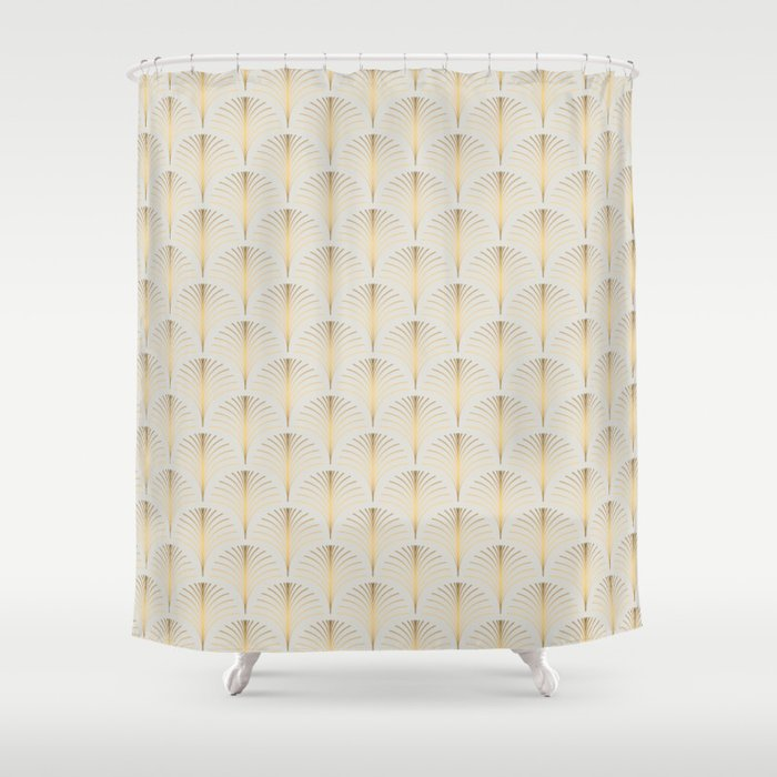 Golden Fan Art Deco Classic Pattern Shower Curtain