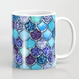 Colorful Teal & Blue Watercolor & Glitter Mermaid Scales Coffee Mug