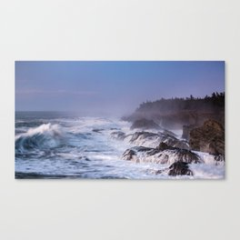 A Huge Barrel Wave and Waterfalls During Sunset at Shore Acres State Park in Oregon Canvas Print