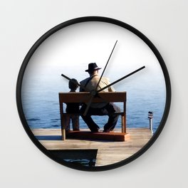 Grandson and Grandfather fishing on the end of a Boat Wall Clock