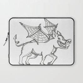 Winged Wild Boar Doodle Art Laptop Sleeve