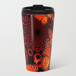 Awesome Decorative Monarch Butterflies on Black Travel Mug