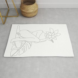 Minimal Line Art Woman with Tropical Leaves Rug