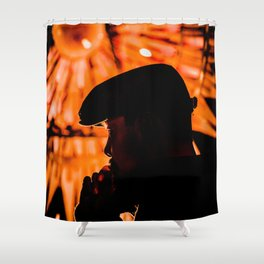 Face profile orange Shower Curtain
