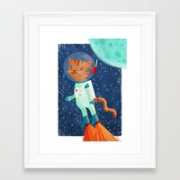 space cat Framed Art Prints featuring Space Cat by Stephanie Fizer Coleman