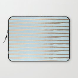 Abstract Stripes Gold Tropical Ocean Sea Turquoise Laptop Sleeve