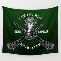 quidditch Wall Tapestries featuring Slytherin quidditch team iPhone 4 4s 5 5c, ipod, ipad, pillow case, tshirt and mugs by Three Second