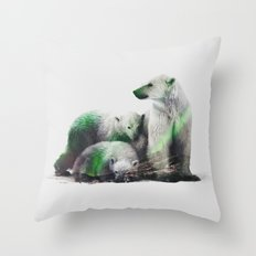Arctic Polar Bear Family Throw Pillow