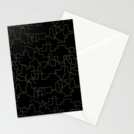 Elegant abstract black faux gold geometrical Stationery Cards