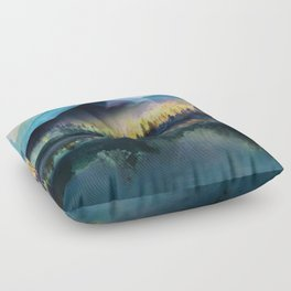 Mountain Lake Under Sunrise Floor Pillow