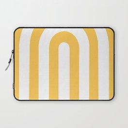 yellow and white retro u stripes Laptop Sleeve