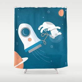 Darwin the Diddy Dog Diving into Deep Space Shower Curtain
