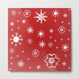 Red Winter Dream #2 #snowflakes #decor #art #society6 Metal Print