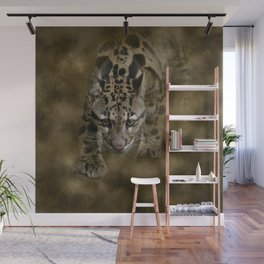 Clouded Leopard On The Hunt Wall Mural