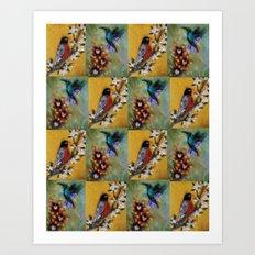 Hummingbird and Robin Art Print