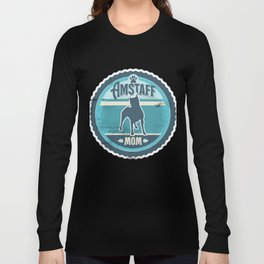 Amstaff Mom - Distressed American Staffordshire Terrier Silhouette Design Long Sleeve T-shirt