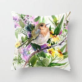 Robin and Summer Flowers Throw Pillow