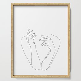 Woman's body line drawing illustration - Dee Serving Tray