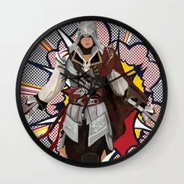 Assassisn Creed Ezio with a Roy Lichtenstein background Wall Clock