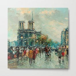 Notre-Dame Cathedral, City Streets of Paris by Antoine Blanchard Metal Print