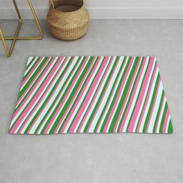 Forest Green, Hot Pink, and Light Cyan Colored Stripes/Lines Pattern Rug