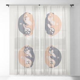 Yin yang Doge shiba inu hug together Sheer Curtain