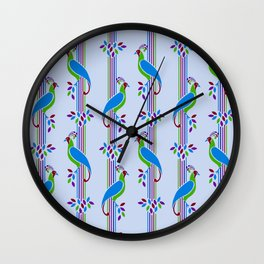 Vintage Art Deco Birds and Stripes Pattern 2 Wall Clock