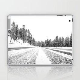 Snow Road // Snowy Winter Wonderland Black and White Landscape Photography Ski Poster Laptop & iPad Skin