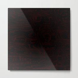 Dark lava threads and metal wire with volcanic red tints. Metal Print