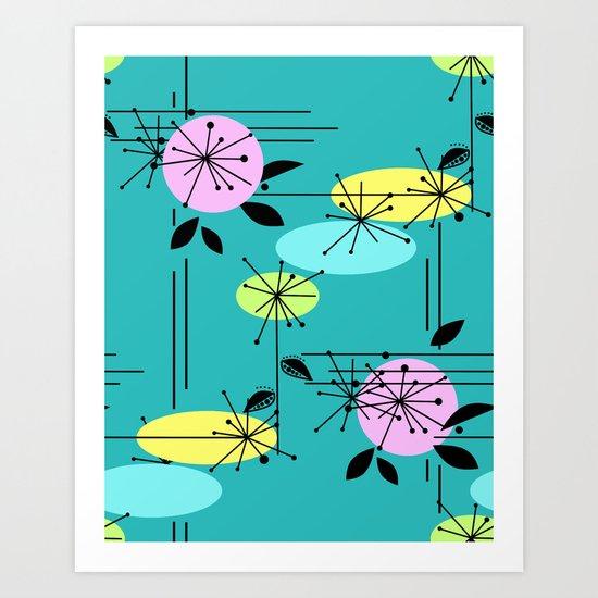 Retro . Turquoise . Art Print