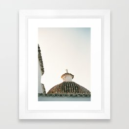 "Travel photography ""Ibiza Sunset rooftop"" | Modern wall art pastel poster spain Framed Art Print"