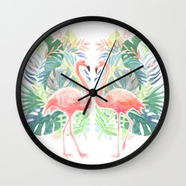 Lovely Fairy Tale For Two Flamingo Watercolor Illustration Wall Clock