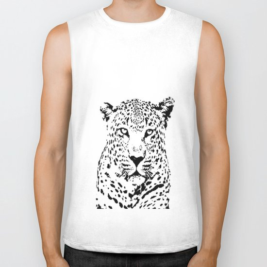 Leopard in Black and White Biker Tank