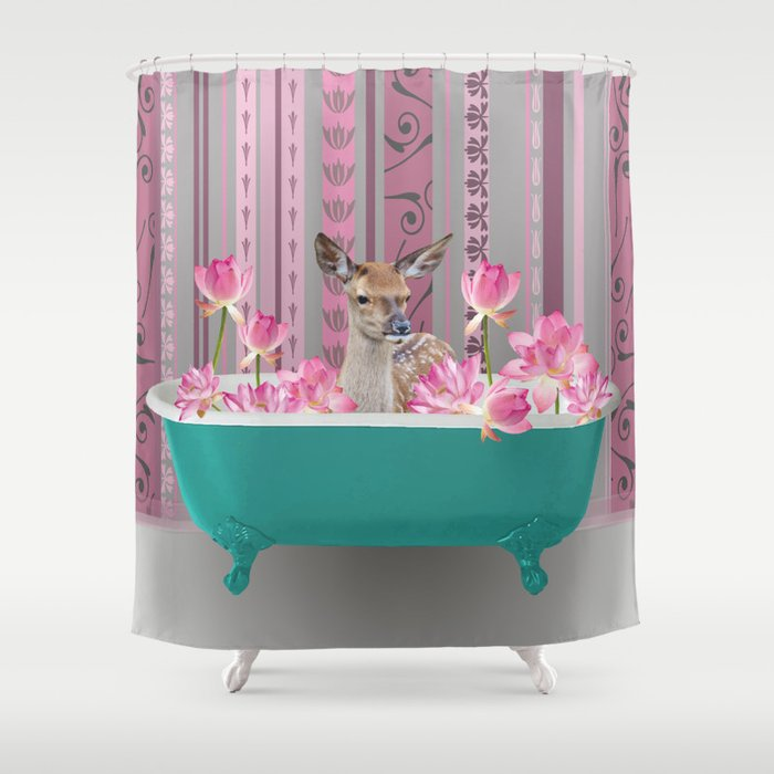 Bathtub with Deer and Lotos Flowers Shower Curtain