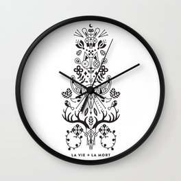 La Vie + La Mort: Black Ink Wall Clock
