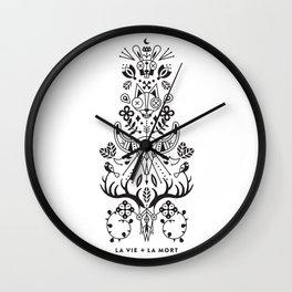 La Vie + La Mort: Black Ink Wall Clock