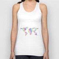 map of the world Tank Tops featuring World map by David Zydd